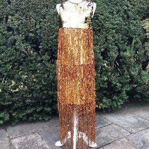 BOSTON PROPER**Bling Sequined Tassel Dress